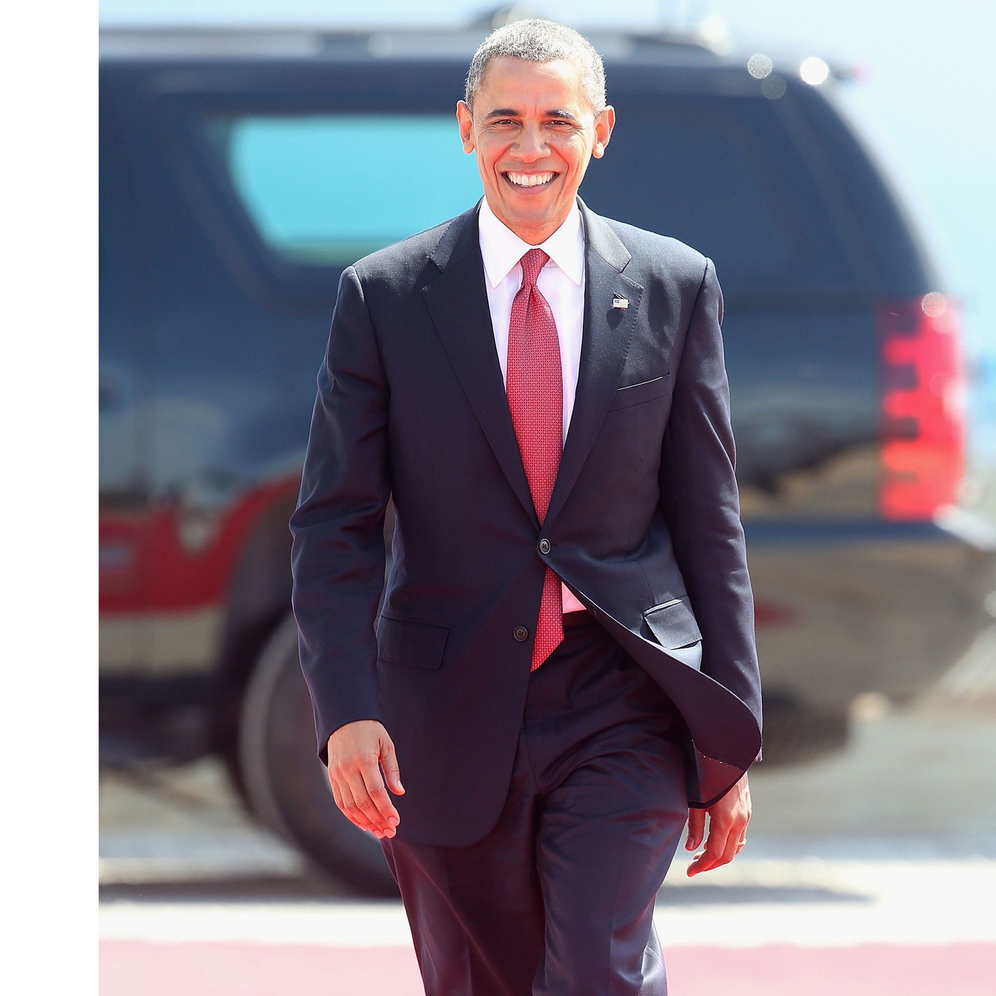 OUISTREHAM, FRANCE - JUNE 06:  President Barak Obama of the United States arrives for a Ceremony to Commemorate D-Day 70 on Sword Beach on June 6, 2014 in Ouistreham, France. Friday 6th June is the 70th anniversary of the D-Day landings which saw 156,000 troops from the allied countries including the United Kingdom and the United States join forces to launch an audacious attack on the beaches of Normandy,  these assaults are credited with the eventual defeat of Nazi Germany. A series of events commemorating the 70th anniversary are planned for the week with many heads of state travelling to the famous beaches to pay their respects to those who lost their lives.  (Photo by Chris Jackson/Getty Images)