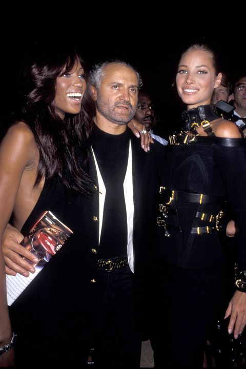 Naomi Campbell, Gianni Versace, and Christy Turlington at the Park Avenue Armory in New York City, New York (Photo by Ron Galella/WireImage)