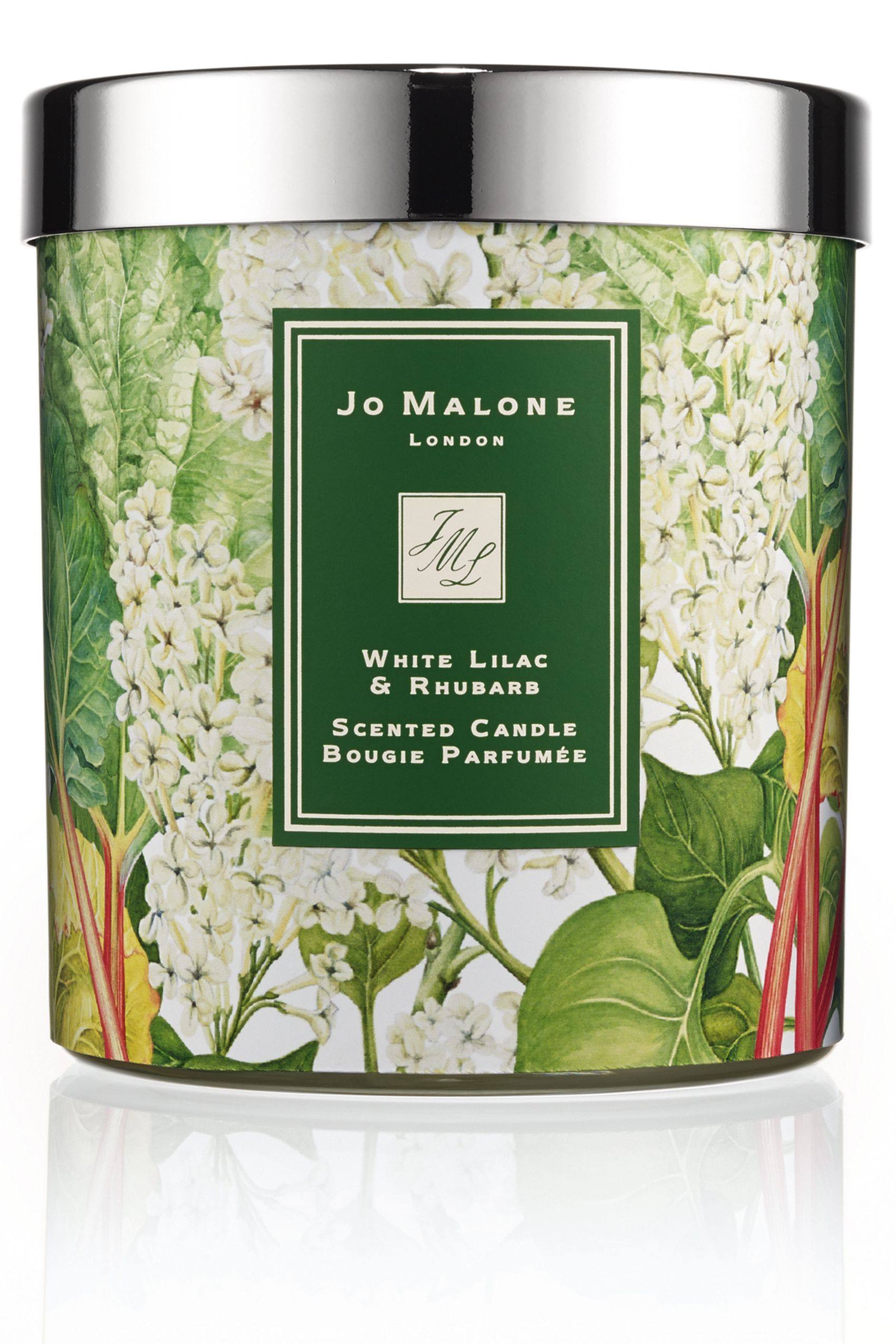"<strong>Jo Malone</strong> White Lilac & Rhubarb Charity Candle, $70, <a target=""_blank"" href=""http://www.jomalone.com/product/3560/36189/For-the-Home/Home-Candles/White-Lilac-Rhubarb-Charity-Candle"">jomalone.com</a>."