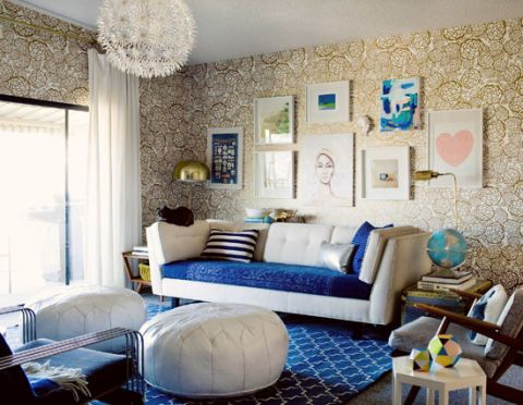"""Oversized Moroccan-style ottomans are playful and unexpected. Plus, as this blogger discovered, they're a stylish (and safe) choice for a home with a toddler just learning to walk.   <a target=""""_blank"""" href=""""http://ohjoy.blogs.com/my_weblog/2012/11/baby-proofing-your-stylish-living-room.html""""><em>See more at Oh Joy! »</em></a>"""