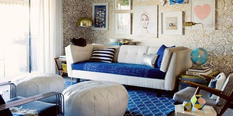 Blue, Room, Interior design, Living room, Property, Wall, Home, Couch, Furniture, Floor,