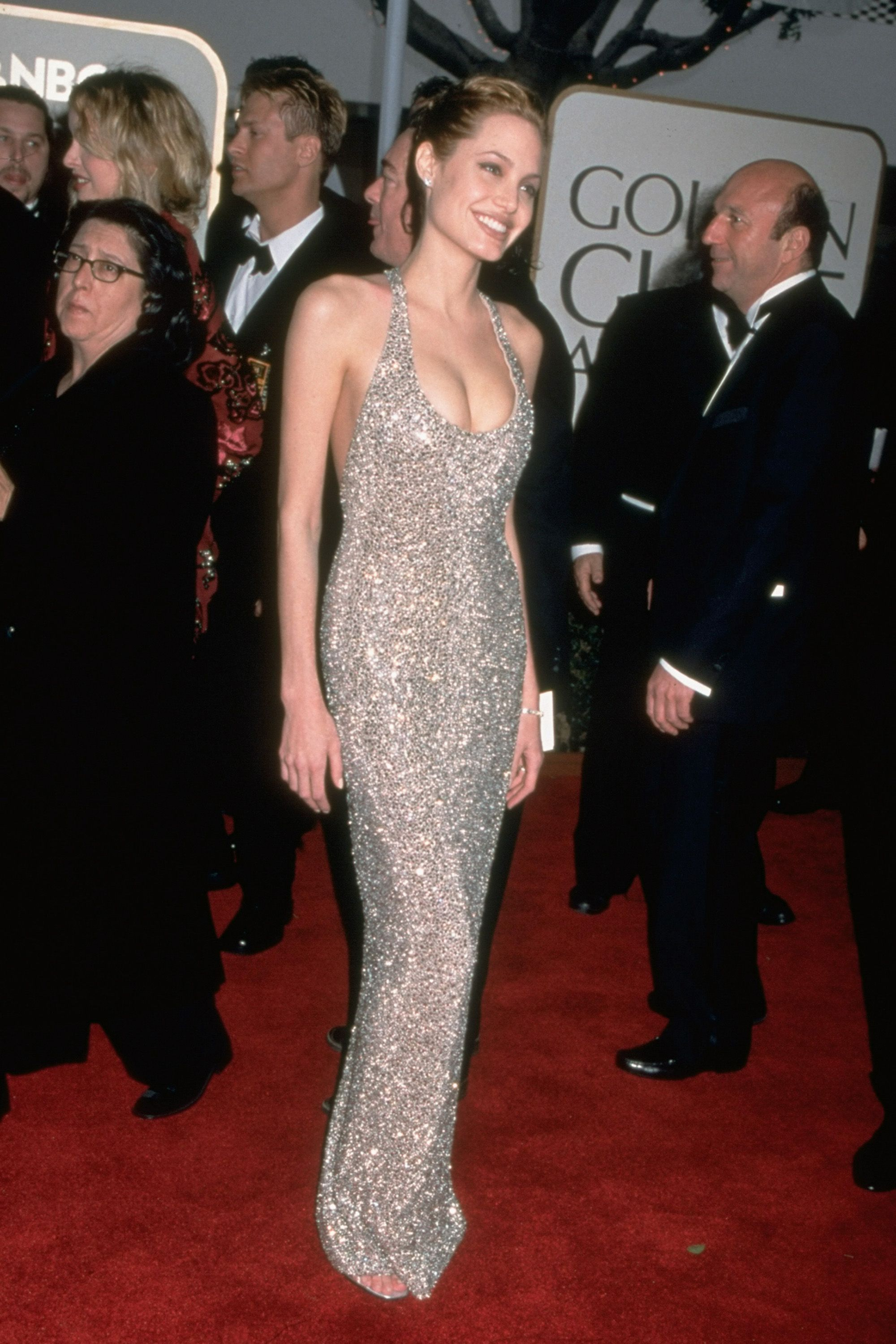 Actress Angelina Jolie (in Randolph Duke) at the Golden Globe awards.  (Photo by Tammie Arroyo/The LIFE Images Collection/Getty Images)