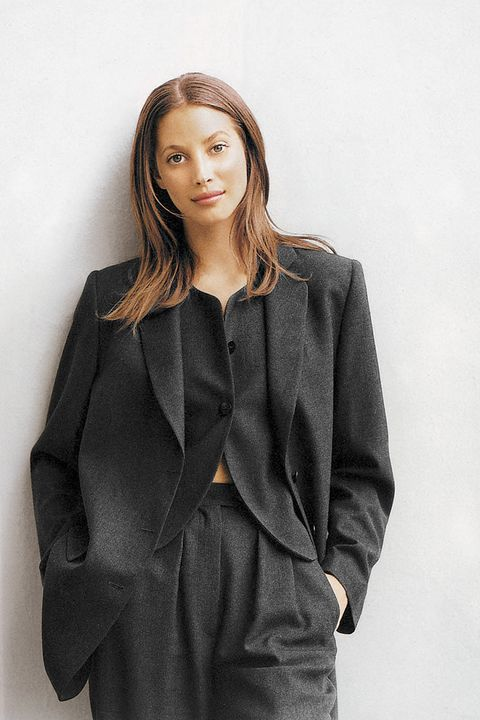 Christy Turlington in Armani's signature suiting.