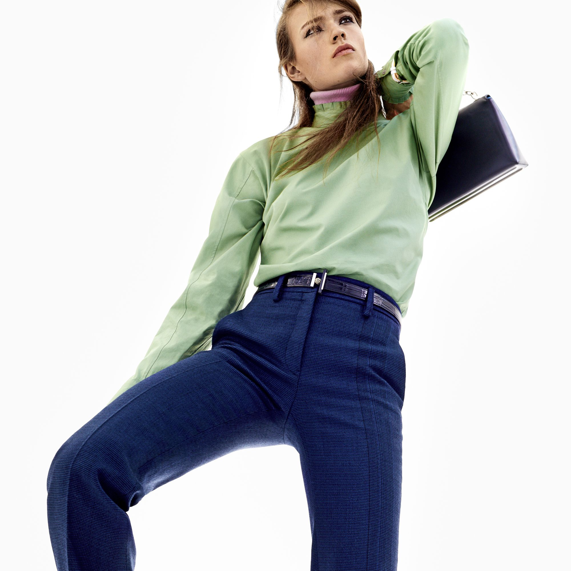 "<strong>Jil Sander </strong> shirt,<a target=""_blank"" href=""http://shop.harpersbazaar.com/designers/jil-sander/button-back-blouse/"">shopBAZAAR.com</a><img src=""http://assets.hdmtools.com/images/HBZ/Shop.svg"" class=""icon shop"">, $465, pants, $1,310, collar, $350, and boots, $995, <strong>jilsander.com</strong>&#x3B; <strong>Dior</strong> timepieces watch, $4,500, 212-931-2950&#x3B; <strong>Balenciaga</strong> bag, $3,270, similar styles available at Balenciaga, NYC, 212-206-0872&#x3B; <strong>Hermès</strong> belt, $3,725, 800-441-4488."