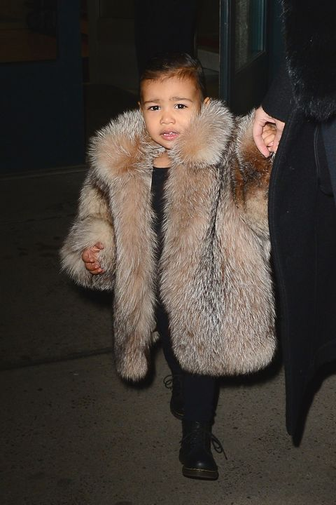 NEW YORK, NY - FEBRUARY 11:  Kim Kardashian and North West are seen in Walking in Soho  on February 11, 2015 in New York City.  (Photo by Raymond Hall/GC Images)