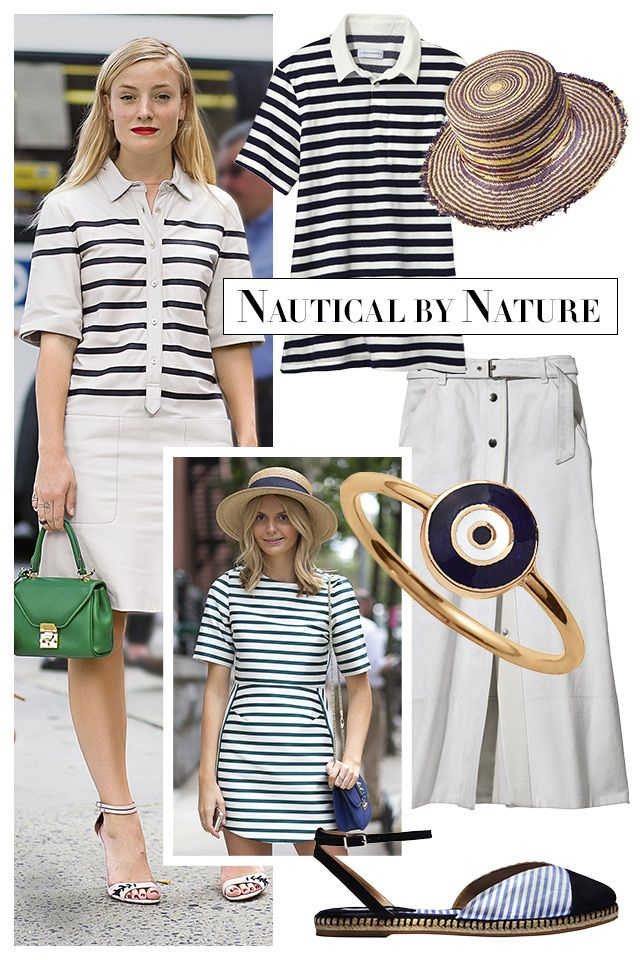 "The sailor stripe finds higher ground when parlayed into cutout tops and easy dresses. Add a straw hat for a day at the beach or an A-line skirt for one in the city.   <strong>Solid & Striped</strong> shirt, $78, <a target=""_blank"" href=""http://www.solidandstriped.com/collections/women-knits-tees"">solidandstriped.com</a>; <strong>Albertus Swanepoel</strong> hat, $300, 212-629-1090; <strong>Rag & Bone</strong> skirt, $425, 212-219-2204; <strong>Aaron Basha</strong> ring, <a target=""_blank"" href=""http://aaronbasha.com"">aaronbasha.com</a>; <strong>Tabitha Simmons</strong> espadrille, $395, similar styles available at <a target=""_blank"" href=""http://shop.harpersbazaar.com/designers/tabitha-simmons/"">shopBAZAAR.com</a><img src=""http://assets.hdmtools.com/images/HBZ/Shop.svg"" class=""icon shop"">."