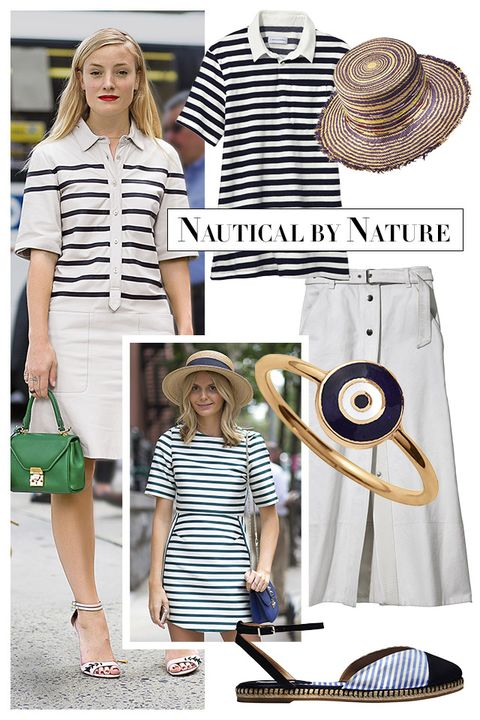 "The sailor stripe finds higher ground when parlayed into cutout tops and easy dresses. Add a straw hat for a day at the beach or an A-line skirt for one in the city.   <strong>Solid &amp; Striped</strong> shirt, $78, <a target=""_blank"" href=""http://www.solidandstriped.com/collections/women-knits-tees"">solidandstriped.com</a>; <strong>Albertus Swanepoel</strong> hat, $300, 212-629-1090; <strong>Rag &amp; Bone</strong> skirt, $425, 212-219-2204; <strong>Aaron Basha</strong> ring, <a target=""_blank"" href=""http://aaronbasha.com"">aaronbasha.com</a>; <strong>Tabitha Simmons</strong> espadrille, $395, similar styles available at <a target=""_blank"" href=""http://shop.harpersbazaar.com/designers/tabitha-simmons/"">shopBAZAAR.com</a><img src=""http://assets.hdmtools.com/images/HBZ/Shop.svg"" class=""icon shop"">."