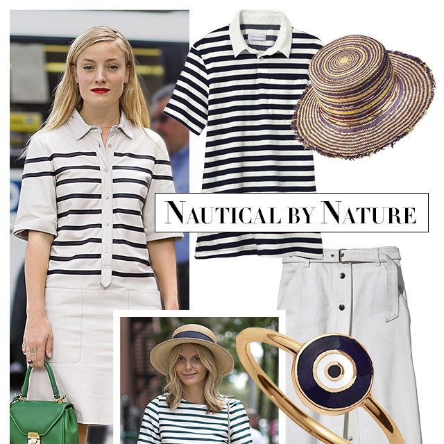 """The sailor stripe finds higher ground when parlayed into cutout tops and easy dresses. Add a straw hat for a day at the beach or an A-line skirt for one in the city. <strong>Solid &amp&#x3B; Striped</strong> shirt, $78, <a target=""""_blank"""" href=""""http://www.solidandstriped.com/collections/women-knits-tees"""">solidandstriped.com</a>&#x3B; <strong>Albertus Swanepoel</strong> hat, $300, 212-629-1090&#x3B; <strong>Rag &amp&#x3B; Bone</strong> skirt, $425, 212-219-2204&#x3B; <strong>Aaron Basha</strong> ring, <a target=""""_blank"""" href=""""http://aaronbasha.com"""">aaronbasha.com</a>&#x3B; <strong>Tabitha Simmons</strong> espadrille, $395, similar styles available at <a target=""""_blank"""" href=""""http://shop.harpersbazaar.com/designers/tabitha-simmons/"""">shopBAZAAR.com</a><img src=""""http://assets.hdmtools.com/images/HBZ/Shop.svg"""" class=""""icon shop"""">."""