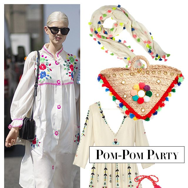 """For a touch of whimsy, nothing beats festive tassels and pom-poms. <strong>Calypso St. Barth</strong> scarf, $195, 212-535-4100&#x3B; <strong>Muzungu Sisters</strong> bag, $310, <a target=""""_blank"""" href=""""http://shop.harpersbazaar.com/designers/muzungu-sisters/sicilian-basket-ii/"""">shopBAZAAR.com</a>&#x3B; <strong>Antik Batik</strong> dress, $228, <a target=""""_blank"""" href=""""http://www.antikbatik.fr/june-cream-dress.html"""">antikbatik.fr</a>&#x3B; <strong>Lolli Swim</strong> bikini top and bottoms, $115 each, <a target=""""_blank"""" href=""""http://www.revolveclothing.com/lolli-swim-margs-bikini-top-in-white-coral/dp/LOLL-WX18/"""">revolveclothing.com</a>."""