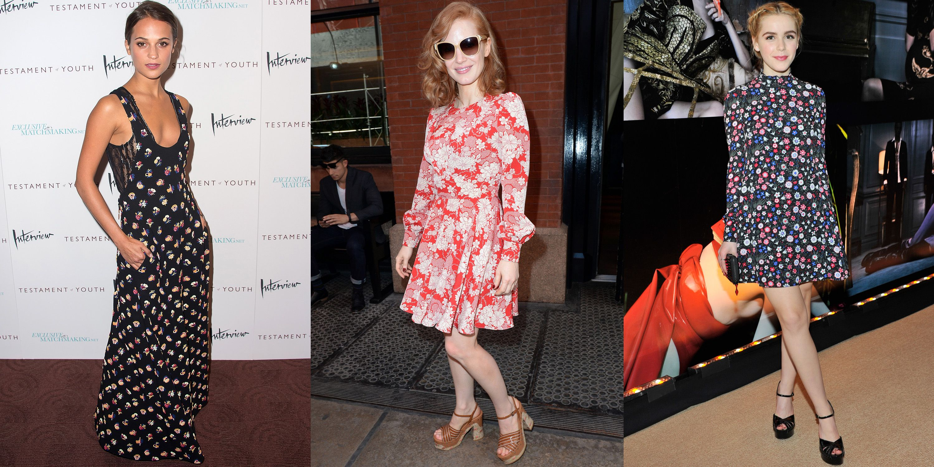 Short or long, a fetching garden-inspired print is right on time—a la Alicia Vikander in Louis Vuitton, Jessica Chastain in Saint Laurent and Kiernan Shipka in Valentino.
