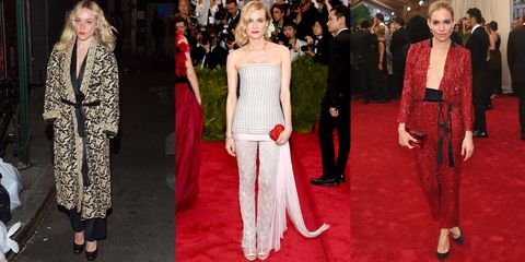 Dresses aren't the only road to wedding chic. Opt for ornate and embellished trouser looks, taking note from Chloe Sevigny, Diane Kruger in Chanel and Sienna Miller in Thakoon.
