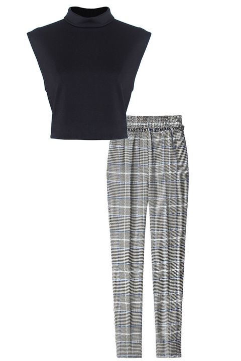 "<em>Tibi crop top, $335, <a target=""_blank"" href=""http://shop.harpersbazaar.com/designers/tibi/mock-neck-crop-top/"">shopBAZAAR.com</a>; 3.1 Phillip Lim pants, $475, <a target=""_blank"" href=""http://shop.harpersbazaar.com/designers/3-1-phillip-lim/smocked-patterned-pants/"">shopBAZAAR.com</a></em>"