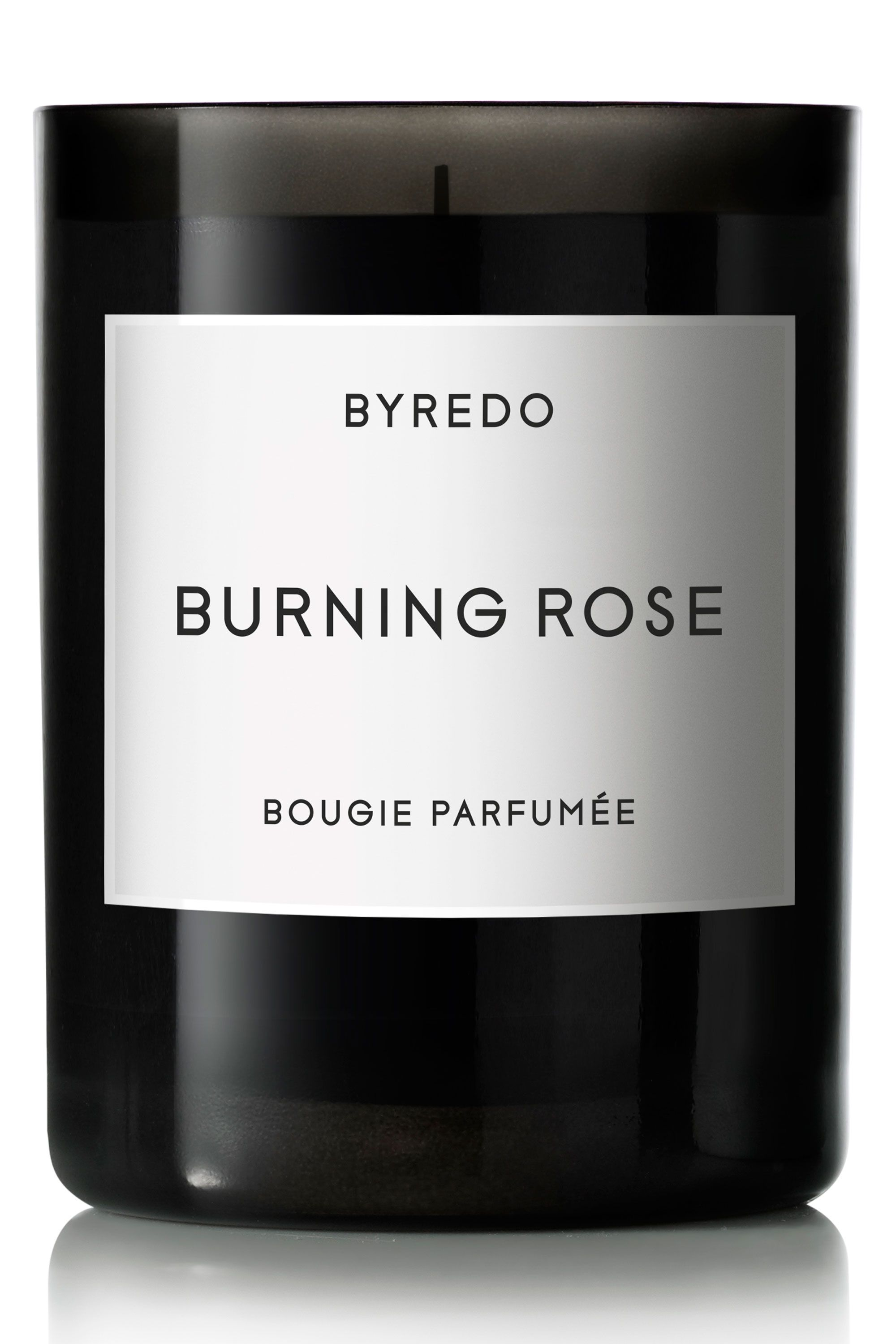 """The candle you want to light if you're trying to set the mood.  <em>Byredo Burning Rose Candle, $80, <a target=""""_blank"""" href=""""http://www.barneys.com/Byredo-Burning-Rose-Candle-503931683.html?gclid=CPnb9Mvl8cUCFQQRHwodRqEApw"""">barneys.com</a>.</em>"""