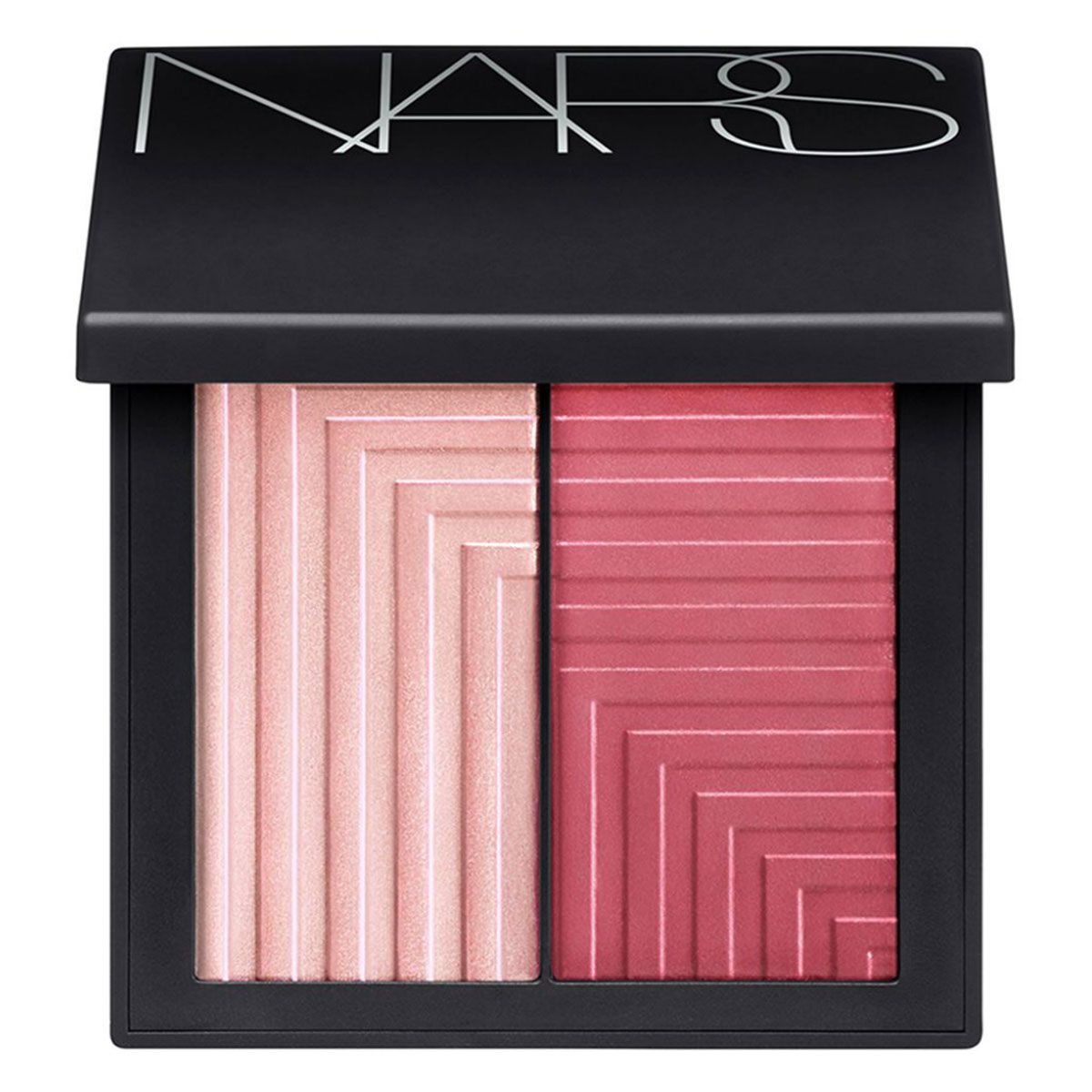 """Warm up cheeks with the darker shade, then use the pink champagne one to highlight all over. <em>NARS Dual-Intensity Blush in Adoration, $45, <a target=""""_blank"""" href=""""http://www.sephora.com/dual-intensity-blush-P393659?skuId=1678135&amp&#x3B;om_mmc=ppc-GG&amp&#x3B;mkwid=Pp9XtJtB&amp&#x3B;pcrid=49113163479&amp&#x3B;pdv=c&amp&#x3B;site=us_search&amp&#x3B;country_switch=us&amp&#x3B;lang=en&amp&#x3B;gclid=CLD4-Mvn8cUCFdQTHwodV0EAGA"""">sephora.com</a>.</em>"""
