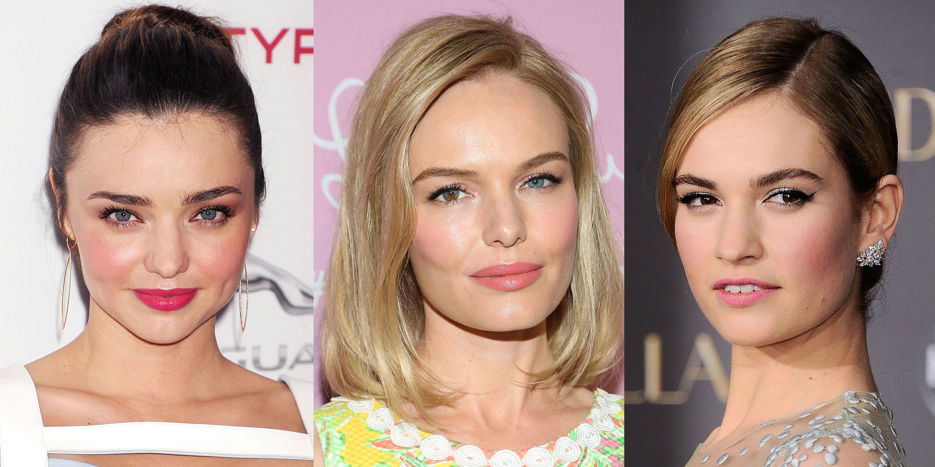 Miranda Kerr, Kate Bosworth and Lily James demonstrate just how pretty rosy blush and pink lipstick can be.