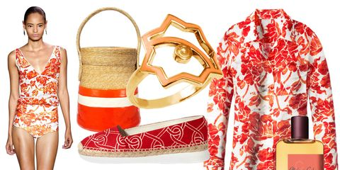Red, Dress, Bag, Pattern, Waist, One-piece garment, Shoulder bag, Luggage and bags, Day dress, Design,