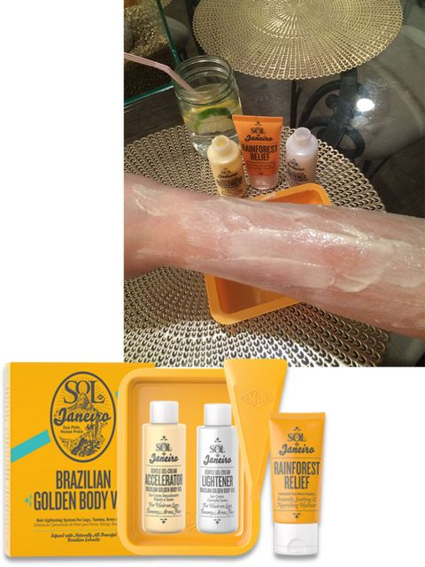"""I've always been a little insecure about how dark my arm hair is, so I'm always looking for new products to try bleaching them with. This kit was really easy to use, took less than 10 minutes and left me with golden arms that look like I've just spent a week laying in the Brazilian sun."" —Lauren Fisher, Assistant Digital Editor  <strong>Sol de Janiero</strong> Brazilian Golden Body Veil, $39, <a target=""_blank"" href=""http://www.bigelowchemists.com/sol-de-janeiro-brazilian-golden-body-veil.html?utm_source=google&amp;utm_medium=productfeed&amp;utm_campaign=googleshopping&amp;mkwid=sd4moU16q&amp;crid=53182976524&amp;mp_kw=&amp;mp_mt=&amp;pdv=c&amp;gclid=CP_tpLXSisYCFUuQHwodikUAiQ"">bigelowchemists.com</a>."