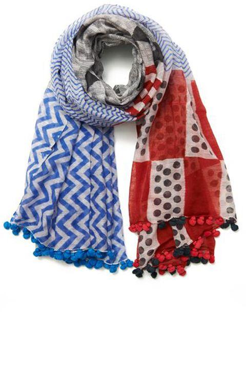 "<strong>Bungalow 8 </strong>scarf, $95, <a target=""_blank"" href=""http://shop.harpersbazaar.com/designers/bungalow-8/silk-cotton-ebele-pom-pom-scarf/"">shopBAZAAR.com</a>"