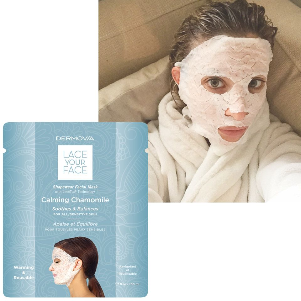 """I didn't notice a major difference in my skin compared to other sheet masks, but the lace was definitely a chic touch."" —Kerry Pieri, Digital Fashion/Features Director  <strong>Dermovia</strong> Lace Your Face Mask, $55, <a target=""_blank"" href=""https://www.skincarebyalana.com/dermovia-lace-your-face-mask.html?utm_source=google&utm_medium=cse&utm_term=20841&gclid=CL_lorLRisYCFZWPHwodeFUAog"">skincarebyalana.com</a>."