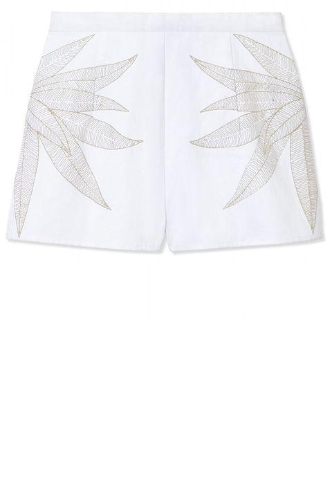 """<strong>Mara Hoffman</strong> shorts, $182, <a target=""""_blank"""" href=""""http://shop.harpersbazaar.com/designers/mara-hoffman/embroidered-shorts/"""">shopBAZAAR.com</a>."""