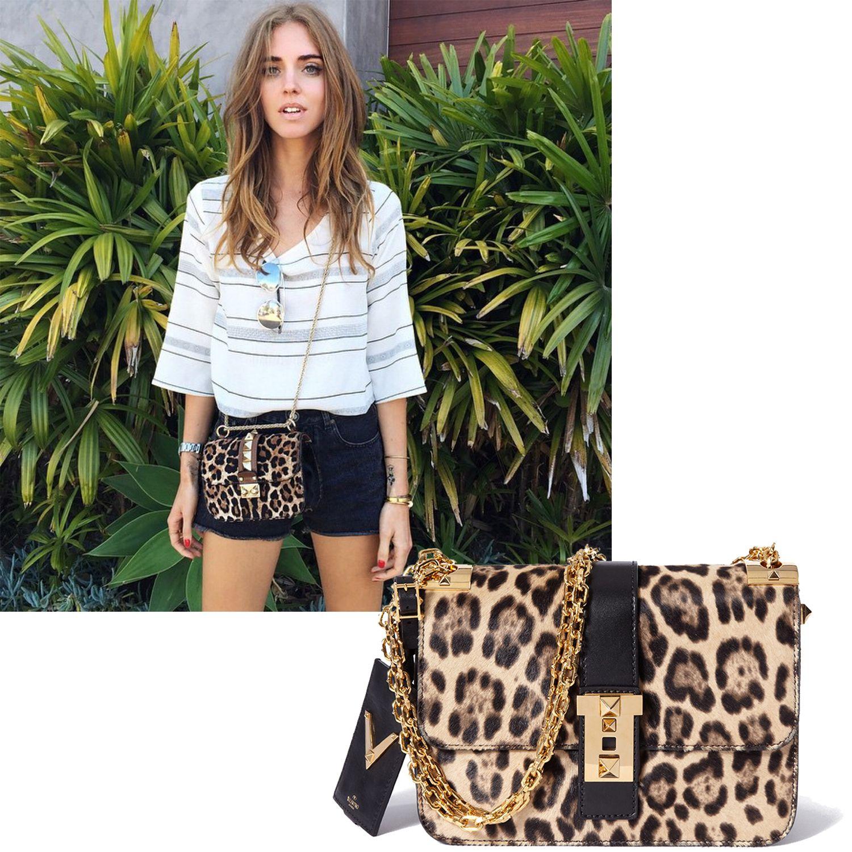 "<a target=""_blank"" href=""https://instagram.com/chiaraferragni/"">@ChiaraFerragni</a>  <em>Valentino bag, $3,895</em>  <a target=""_blank"" href=""http://shop.harpersbazaar.com/designers/valentino/b-rockstud-leopard-print-shoulder-bag/"">ShopBAZAAR.com</a>"
