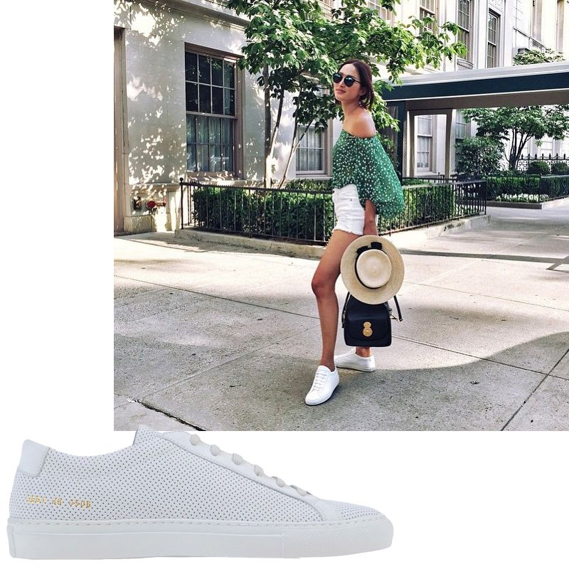 """<a target=""""_blank"""" href=""""https://instagram.com/GaryPepperGirl"""">@GaryPepperGirl</a><em>Woman By Common Projects sneaker, $312</em><a target=""""_blank"""" href=""""http://shop.harpersbazaar.com/designers/woman-by-common-projects/white-perforated-leather-sneaker/"""">ShopBAZAAR.com</a>"""