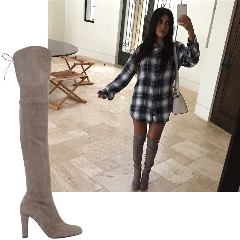 "<a target=""_blank"" href=""https://instagram.com/KourtneyKardash"">@KourtneyKardash</a>  <em>Stuart Weitzman boot, $795</em>  <a target=""_blank"" href=""http://shop.harpersbazaar.com/designers/stuartweitzman/highland-suede-over-the-knee-boot/"">ShopBAZAAR.com</a>"