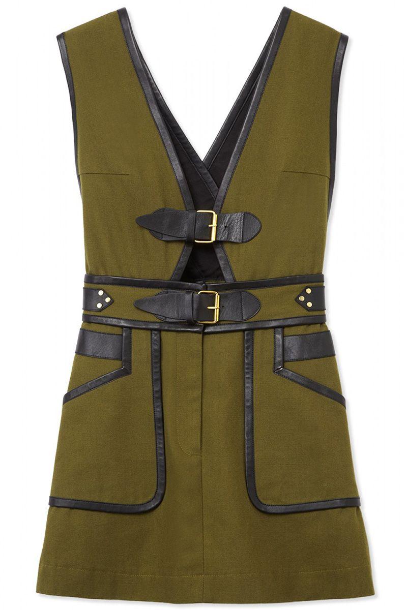 """<strong>10 Crosby Derek Lam </strong>dress, $695, <a target=""""_blank"""" href=""""http://shop.harpersbazaar.com/designers/10-crosby-derek-lam/buckle-apron-dress/"""">shopBAZAAR.com</a>"""