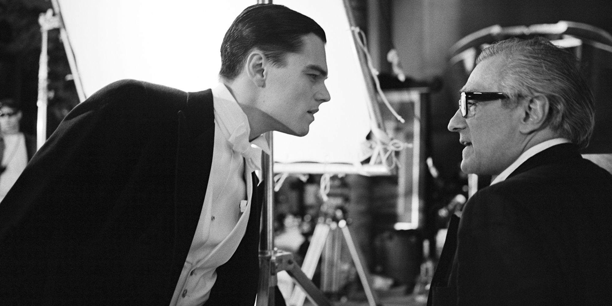 Leonardo DiCaptrio and Martin Scoresse filming<em> The Aviator</em> in Quebec