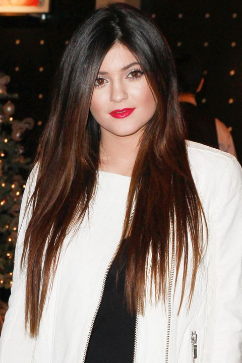 2012Long ombré hair and a candy-red lipstick worn years before she even had Kylie Cosmetics.