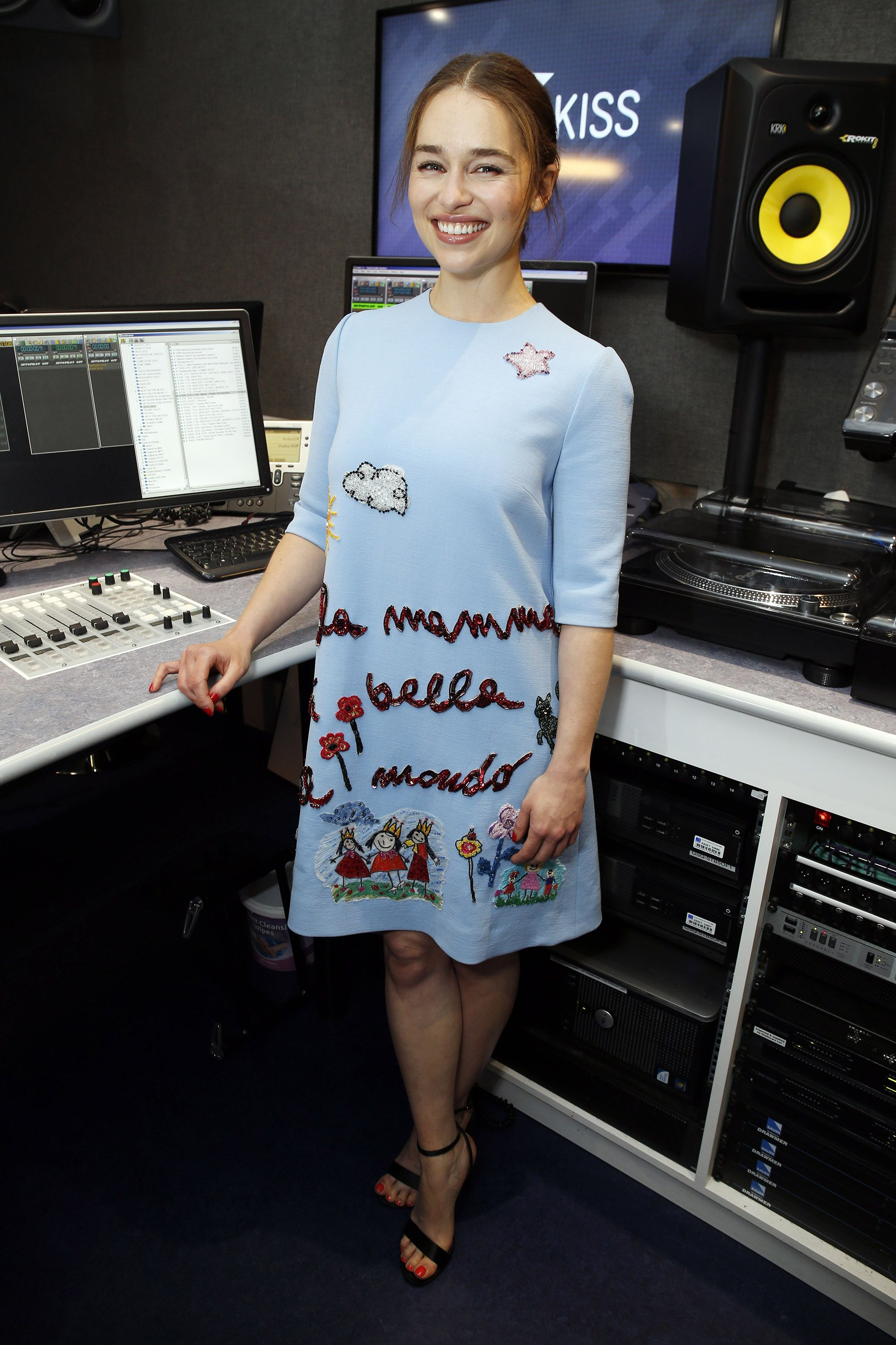 LONDON, UNITED KINGDOM - JUNE 18:  Emilia Clarke poses for pictures during a visit to Kiss FM on June 18, 2015 in London, England. (Photo by Alex B. Huckle/Getty Images)
