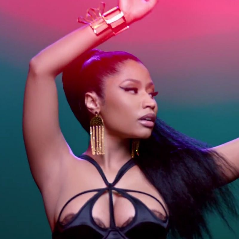 Nicki Minaj's tight ponytail and winged eyeliner (waterproof recommended) hold up through nights that turn into mornings.