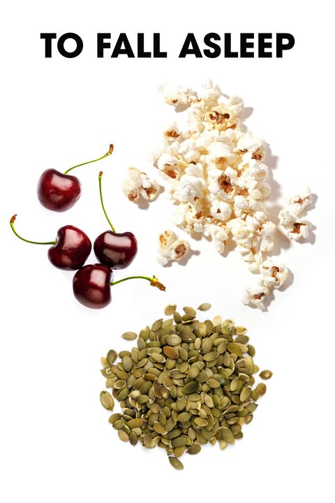 """Melatonin does help induce sleep to a moderate degree,"" says sleep specialist Steven Feinsilver, MD, which is why cherries, which are rich in melatonin, make such a good bedtime snack. According to nutritionist Dana James, MS, CNS, CDN, pumpkin seeds are also a great option. ""They're rich in magnesium which helps to induce a deeper sleep by relaxing the muscles in the body,"" she says.   And finally, a good reason to get popcorn at a night movie: It's high in serotonin, the chemical responsible for regulating our sleep cycle, says nutritionist Keri Glassman, MS, RD. (air-popped is your best bet, since the salt and butter in packaged popcorn could cause you to wake up throughout the night.)"