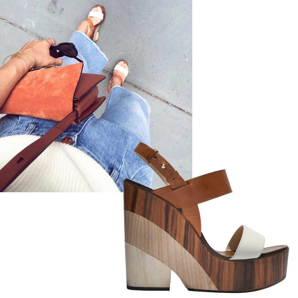 "<a target=""_blank"" href=""https://instagram.com/thefashionguitar/""><strong>@TheFashionGuitar</strong></a>  <em>Jimmy Choo sandal, $695</em>  <a target=""_blank"" href=""https://shop.harpersbazaar.com/designers/jimmy-choo/notion-tricolor-wedge-sandal/""><strong>shopBAZAAR.com</strong></a>"