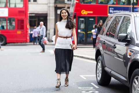 Not all blouses are created equal. A white sleeveless sweater is not only comfy, but boardroom ready when worn with black culottes and a fierce, strappy shoe.