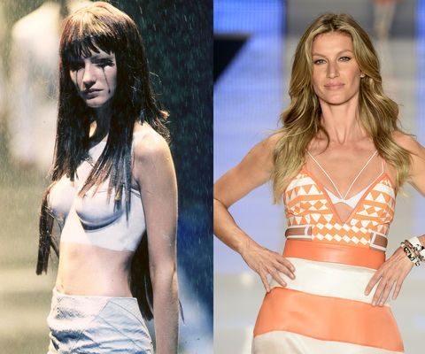 """<em>At the Alexander McQueen Spring/Summer 1998 presentation in 1997, and the final catwalk of her career, at Colcci during Sao Paolo Fashion Week in April. </em>  Gisele officially called it quits on her long and very lucrative career this past spring—not long after Forbes estimated that the model was earning up to <a target=""""_blank"""" href=""""http://www.elle.com/fashion/news/a25013/gisele-bundchen-daily-income-net-worth/"""">$128,000 a <em>day</em></a>. (We'd say she's set for retirement, no?) But back in 1997, a then-17-year-old Bündchen got her big break when she landed a coveted spot in one of Alexander McQueen's theatrical runway presentations. Three years later, she signed with Victoria's Secret, and the rest is history."""