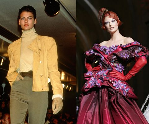 <em>Walking for Calvin Klein in 1989, and in Dior's Fall/Winter 2008 Haute Couture presentation.</em>  One of the most iconic names of the original supermodel era, Evangelista launched her career at age 19 in 1984. Nowadays, she doesn't frequent the runway too often, except for occasional cameos like this Dior couture show in 2008.