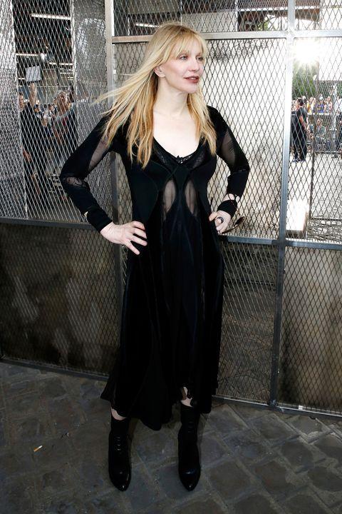 Dress, Mesh, Style, Street fashion, Fashion model, Fashion, Day dress, Blond, Wire fencing, Boot,