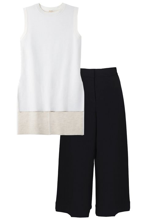 Adam Lippes sweater, shopBAZAAR.com; Tibi culottes, shopBAZAAR.com