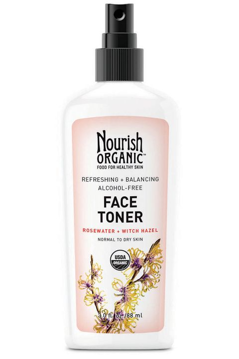 """Calming aloe vera and rose balance out the astringent properties of witch hazel.  <strong>Nourish Organic</strong> Face Toner Refreshing &amp; Balancing Face Toner, $15, <a target=""""_blank"""" href=""""http://nourishorganic.com/products/refreshing-balancing-face-toner"""">nourishorganic.com</a>."""