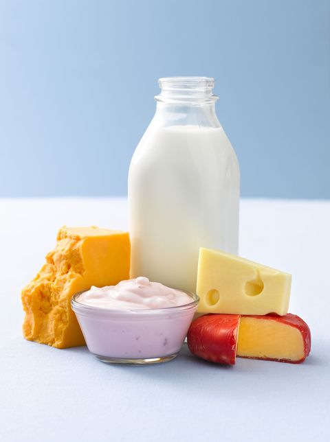 dairy products with yogurt milk and cheese