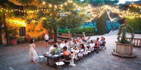 Lighting, Leisure, Furniture, Outdoor table, Outdoor furniture, Flowerpot, Garden, Restaurant, Ceremony, Backyard,