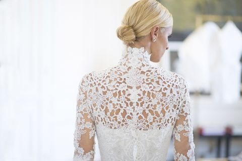 Hairstyle, Sleeve, Shoulder, Style, Neck, Blond, Hair accessory, Street fashion, Lace, Wedding dress,
