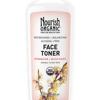 """Calming aloe vera and rose balance out the astringent properties of witch hazel.<strong>Nourish Organic</strong> Face Toner Refreshing &amp&#x3B; Balancing Face Toner, $15, <a target=""""_blank"""" href=""""http://nourishorganic.com/products/refreshing-balancing-face-toner"""">nourishorganic.com</a>."""