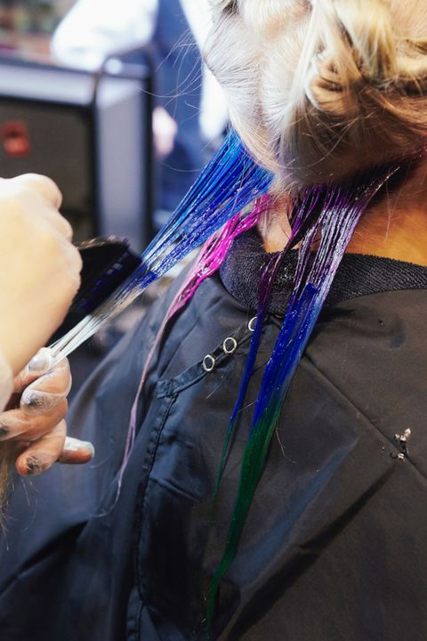 """For the transformation, Payne used Pravana's brand-new color system, <a target=""""_blank"""" href=""""http://pravana.com/hair-color/chromasilk-vivids-locked-in"""">Vivids Locked-In</a>. The new technology allows stylists to apply several different shades to strands without the colors bleeding into one another."""