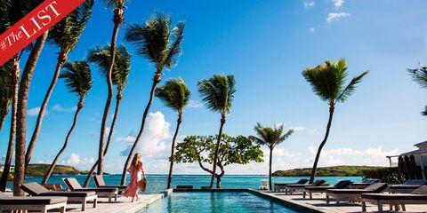 Flag, Sky, Resort, Leisure, Swimming pool, Woody plant, Arecales, Outdoor furniture, Aqua, Tropics,