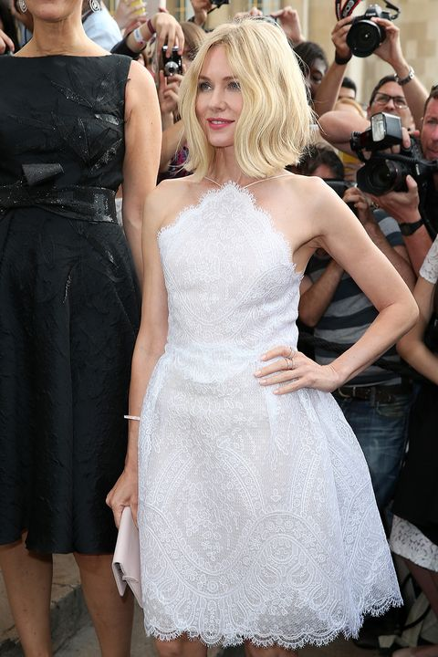 Naomi Watts's middle parting of her coolly tousled bob complements her triangle top in the sweetest way.