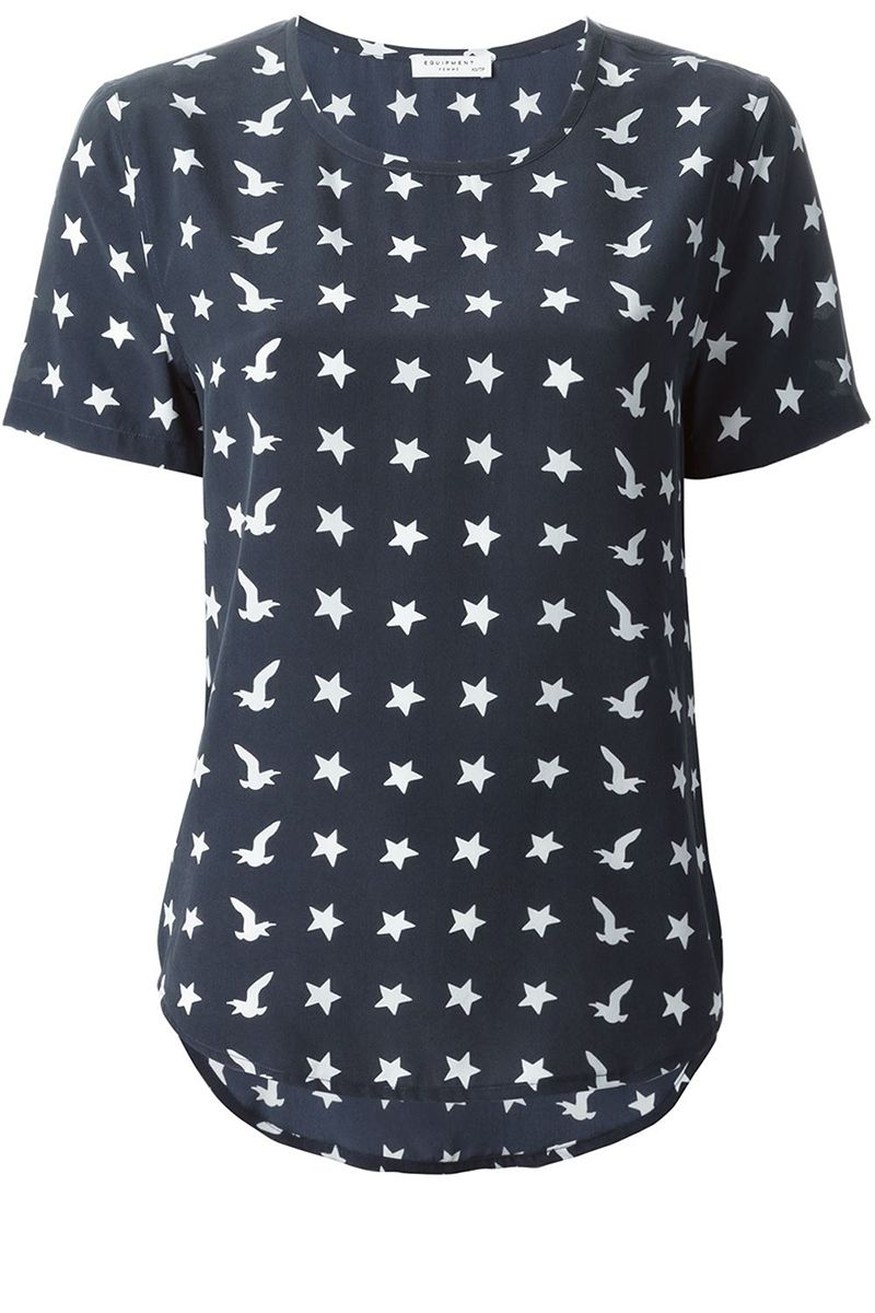 "<p>Equipment shirt, $197, <a href=""http://www.farfetch.com/shopping/women/equipment-star-print-t-shirt-item-11074691.aspx?storeid=9270&ffref=lp_12_14_"" target=""_blank"">farfetch.com</a>. </p>"