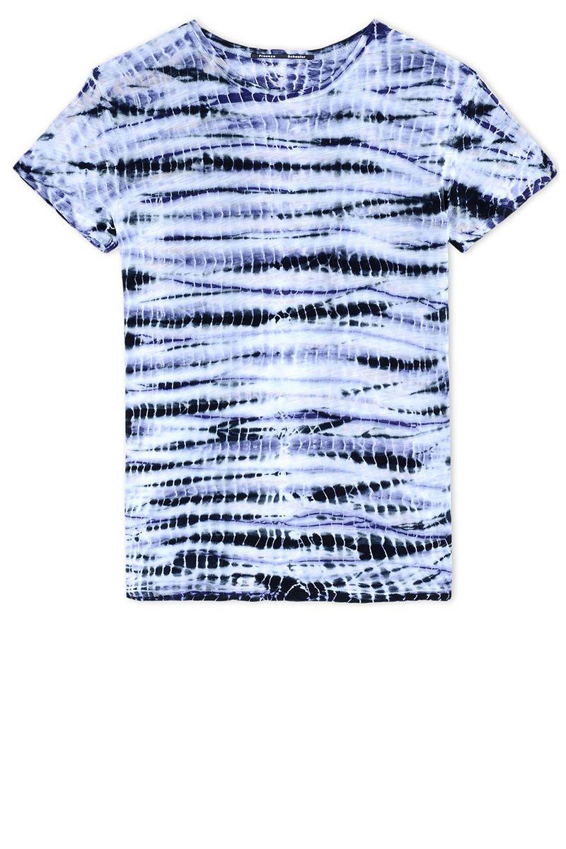 """<p><strong>Proenza Schouler</strong> shirt, $255, <a href=""""https://shop.harpersbazaar.com/designers/p/proenza-schouler/tie-dye-t-shirt"""" target=""""_blank"""">shopBAZAAR.com</a> <img src=""""http://assets.hdmtools.com/images/HBZ/Shop.svg"""" class=""""icon shop"""" """"="""""""">.</p>"""