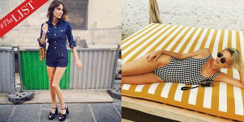 Clothing, Yellow, Collar, Human leg, Pattern, Style, Summer, Street fashion, Knee, Fashion,